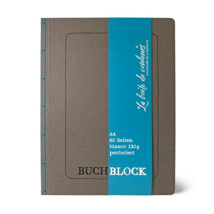 Buchblock mit Perforation ANTHRAZIT/blau – A4