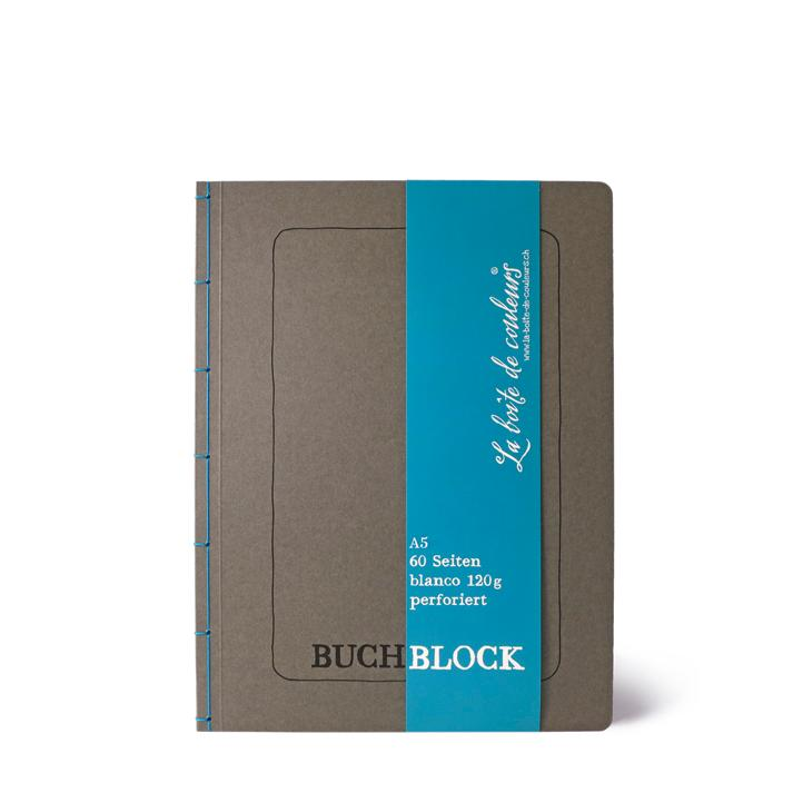 Buchblock mit Perforation ANTHRAZIT/blau – A5