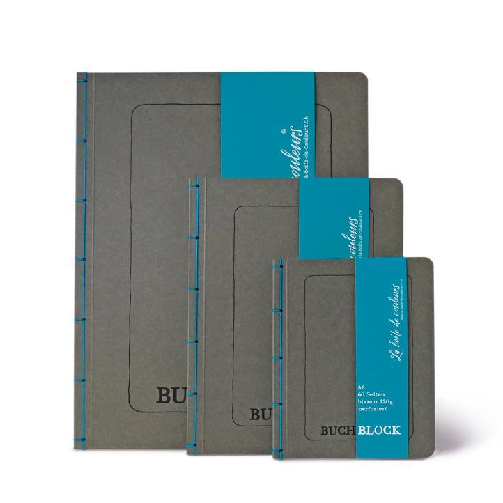 Buchblock mit Perforation ANTHRAZIT/blau – A5 - 2